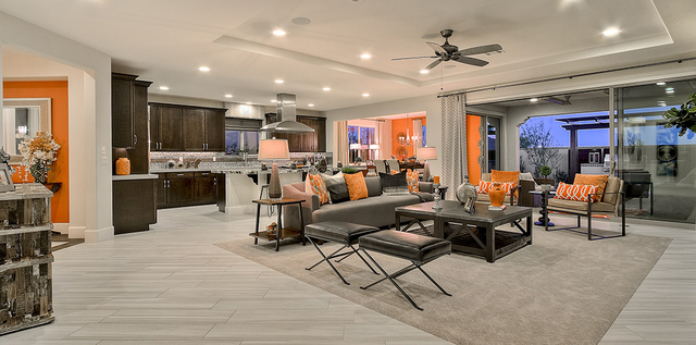 Pardee Homes Encanto, located in southwest Las Vegas, features single-story floor plans with loft options. Shown is the Plan 1 model home great room. (Courtesy)