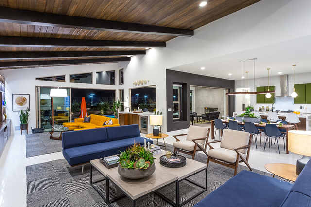 Shown here is the Escala midcentury modern Plan Two D model home's great room. Pardee Homes' Escala neighborhood is located in the Inspirada master-planned community in Henderson. (Courtesy)