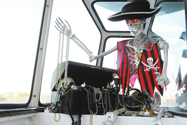 COURTESY Josh Metz A pirate skeleton takes over Lake Las Vegas' La Contessa Yacht on Halloween night for Shipwrecked: A Haunted Cruise.  The special adult cruise is 7 p.m. to 9 p.m. on Monday night.