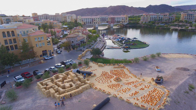 The final touches are being added to the hay bale maze, pumpkin patch at the Fall Festival to be held at Lake Las Vegas through Nov. 27. (Courtesy/Josh Metz)