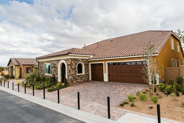 Pardee Homes Encanto is in southwest Las Vegas off Fort Apache Road, north of Sunset Road, and features single-story floor plans with loft options. Pictured is the Plan 3-X model home. (Courtesy)