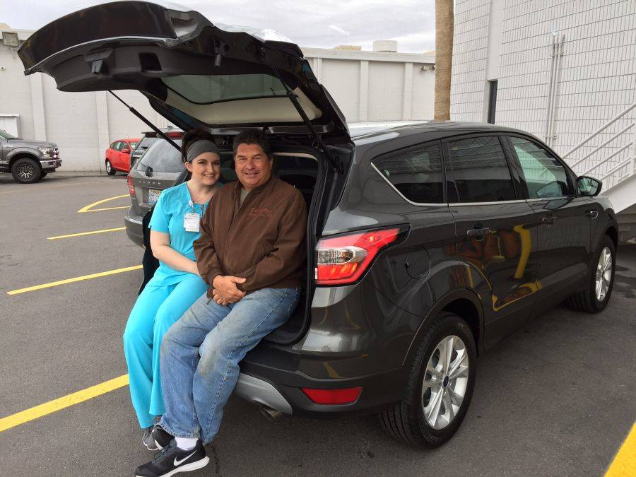 COURTESY Longtime Friendly Ford customer Billy Soehngen took his niece Jillian Harmon to Friendly Ford to purchase a 2017 Ford Escape.