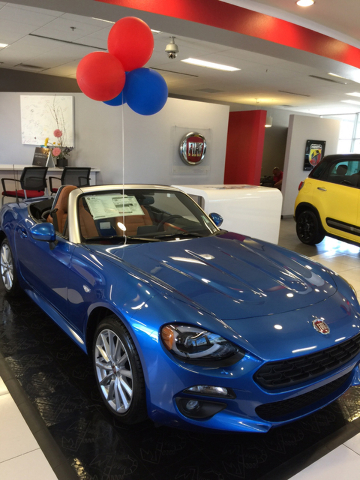 COURTESY The 2017 Fiat 124 Spider is selling quickly at Findlay Fiat and Alfa Romeo in the Valley Automall.  This particular model sold to a couple of middle-aged professionals.
