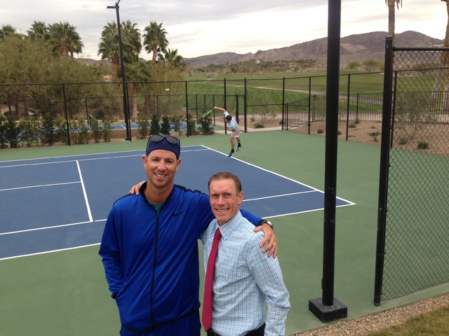 Dann Battistone, right, Lake Las Vegas Sports Club general manager, and Tim Blenkiron, No Quit Tennis Academy executive director and coach. The highly ranked Las Vegas-based tennis academy recentl ...