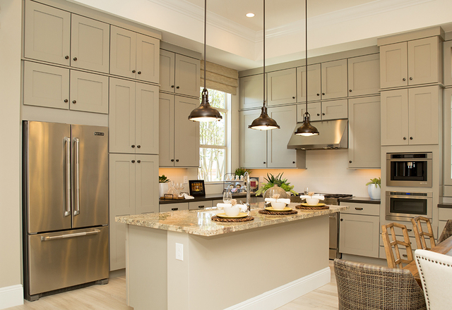A kitchen in one of the Regency models features white cabinets. (TONYA HARVEY/RJRealEstate.Vegas)