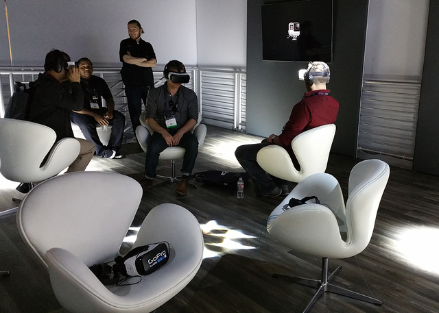 COURTESY  To get in the virtual tour, a potential homebuyer dons a Samsung VR Gear head-mounted display, or HMD, and sits in a comfortable armchair that can swivel 360 degrees in a circle within t ...