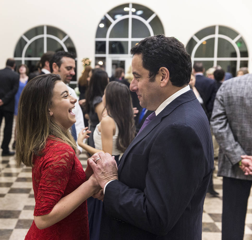 Sydney Adashek, left, dances with her father Joseph  Adashek during the final night of Summerlin Cotillion on Saturday, April 1, 2017, at Vistas Community Center, in Las Vegas. Summerlin Cotillion ...
