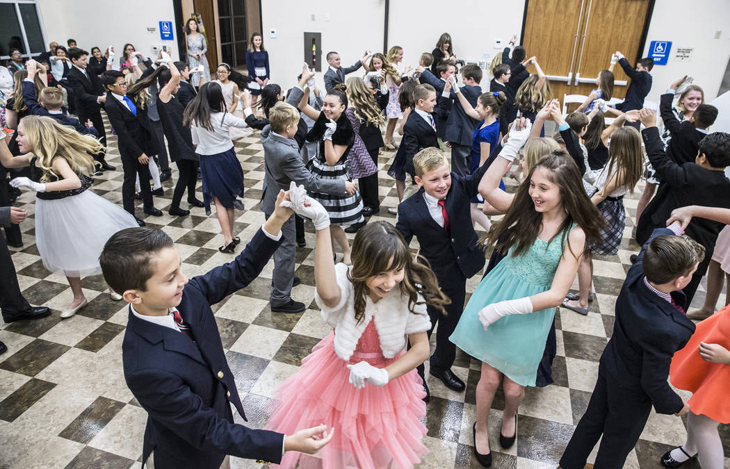 Students in the 4th grade class practice dancing during Summerlin Cotillion on Saturday, March 4, 2017, at Vistas Community Center, in Las Vegas. Summerlin Cotillion is in its 4th year in Las Vega ...