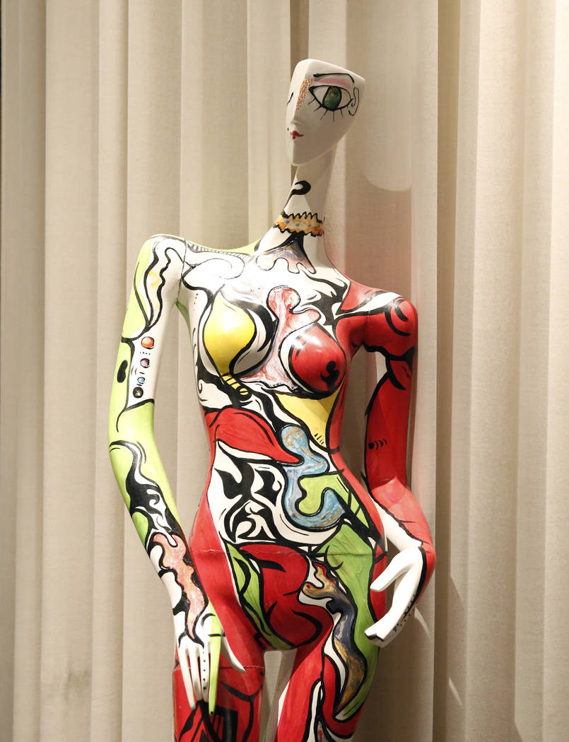 """Audacious Queen,"" hand painted mannequin by Julia Gonzalez, is on display for viewing at Delano hotel-casino, on Wednesday, May 17, 2017. Las Vegas Fashion Council commissioned 10 mannequins to b ..."