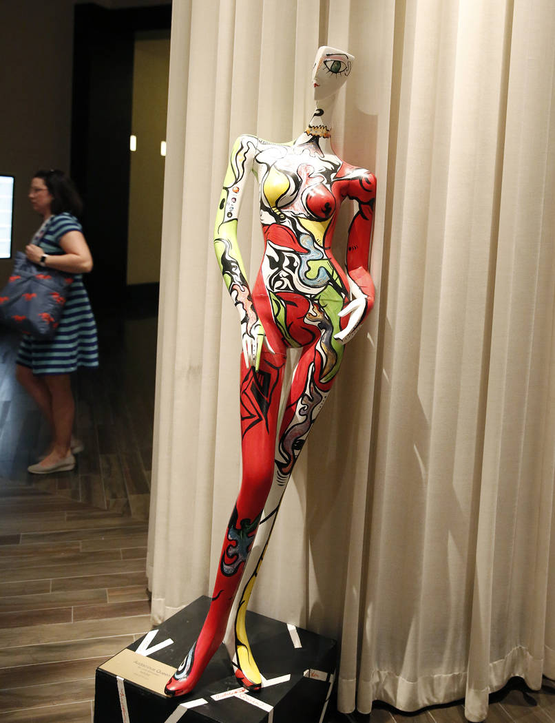 "Audacious Queen,"" hand painted mannequin by Julia Gonzalez, is on display for viewing at Delano hotel-casino, on Wednesday, May 17, 2017. Las Vegas Fashion Council commissioned 10 mannequ ..."