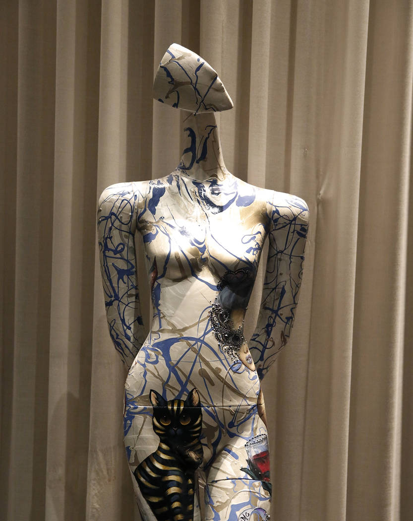 """How Strange It Is To Be Anything At All,"" hand painted mannequin by Kat Tatz, is on display for viewing at Delano hotel-casino, on Wednesday, May 17, 2017. Las Vegas Fashion Cou ..."