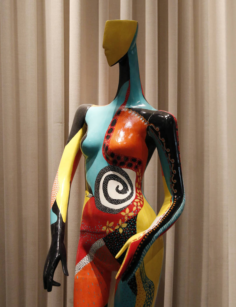 """She Wasn't Sure What to Wear,"" hand painted mannequin by Joe Snyder & Kathryn Gilbert, is on display for viewing at Delano hotel-casino, on Wednesday, May 17, 2017. Las Vega ..."