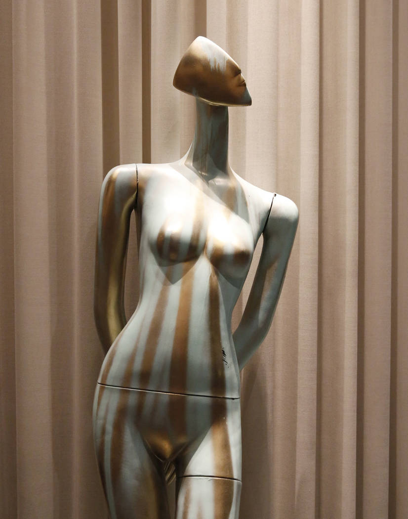 """The Fall,"" hand painted mannequin by Joel Spencer and Nova May, is on display for viewing at Delano hotel-casino, on Wednesday, May 17, 2017. Las Vegas Fashion Council commissio ..."