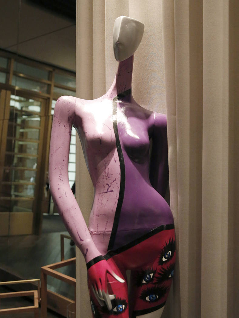 """Liberated De Ser,"" hand-painted life size mannequin by Ruth Jane, is on display for viewing at Delano hotel-casino, on Wednesday, May 17, 2017. Las Vegas Fashion Council commiss ..."