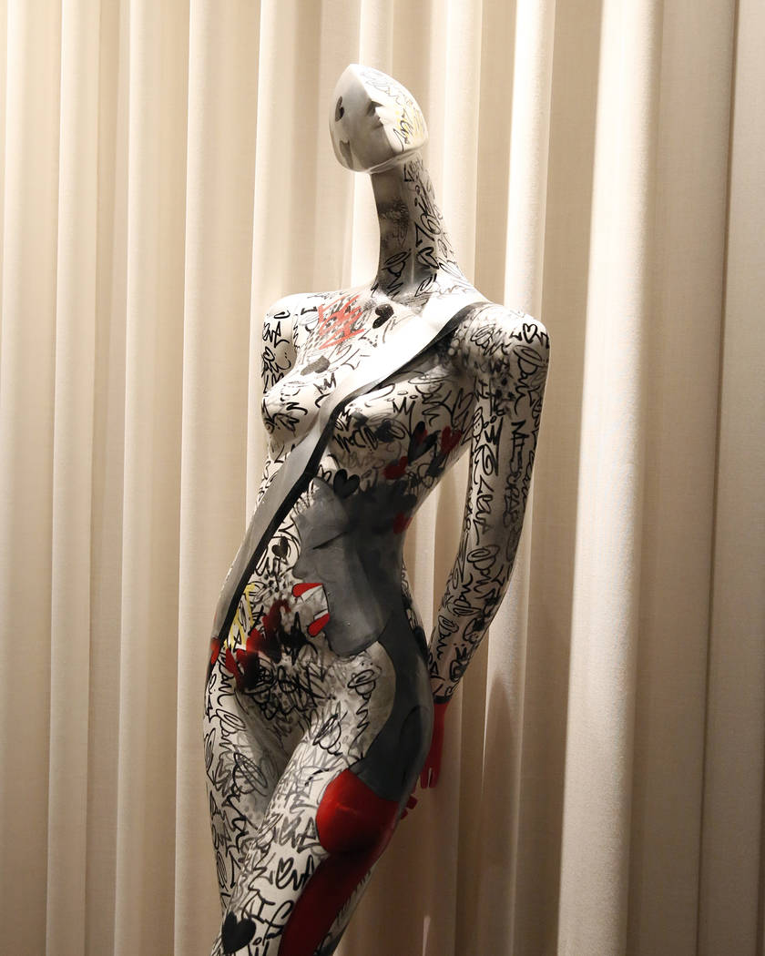 """I'm Bringing Urban Back...YEAH,"" hand painted mannequin by M!SCRE8, is on display for viewing at Delano hotel-casino, on Wednesday, May 17, 2017. Las Vegas Fashion Council commi ..."