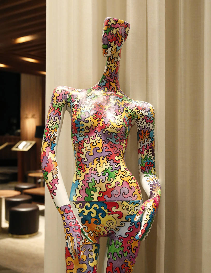 """Rainbow Woman,"" hand painted mannequin by Crezette, is on display for viewing at Delano hotel-casino, on Wednesday, May 17, 2017. Las Vegas Fashion Council commissioned 10 manne ..."