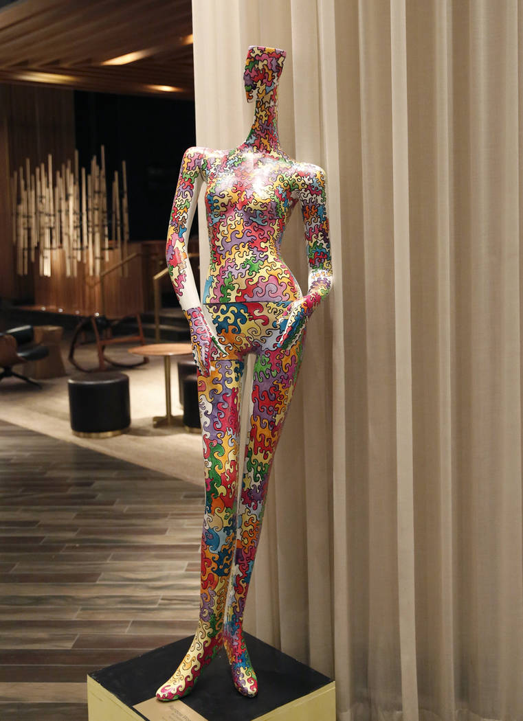 """Rainbow Woman,"" hand painted mannequin by Crezette,  is on display for viewing at Delano hotel-casino, on Wednesday, May 17, 2017. Las Vegas Fashion Council commissioned 10 mann ..."