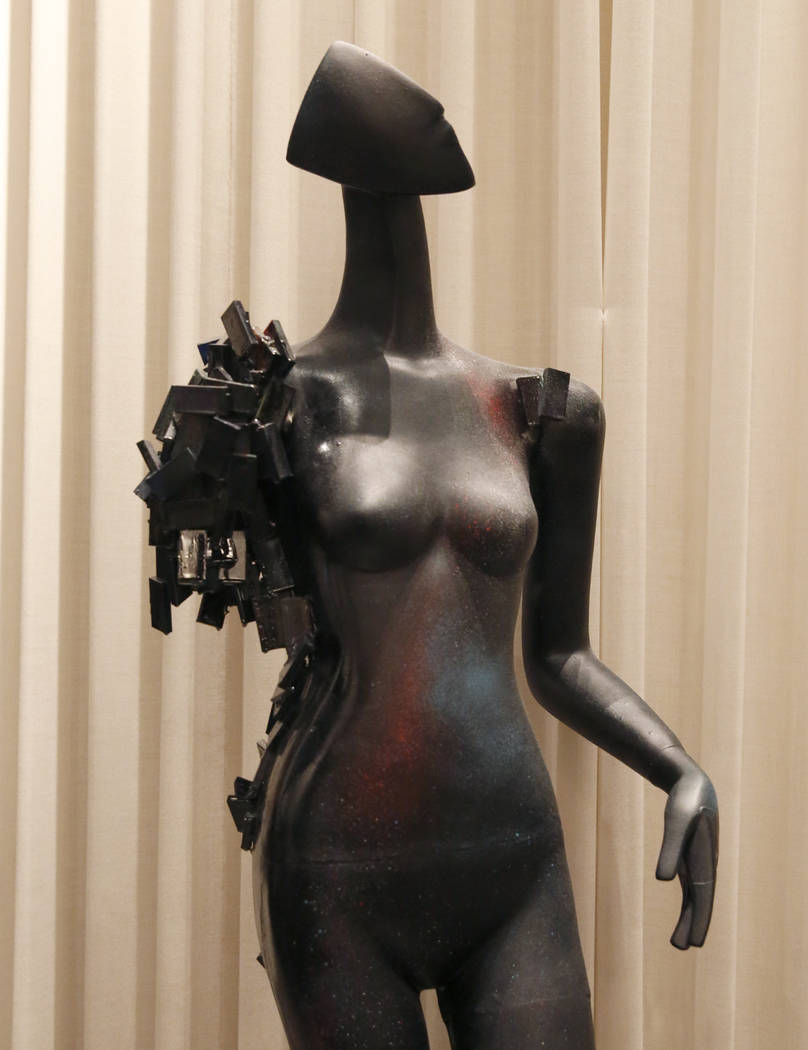 """Falling Apart,"" hand painted mannequin by Victor Heredia, Cassandra Burrows, Liz Santiago, Frank Perez, Melissa Gomez, and Emma Hortoan, is on display for viewing at Delano hote ..."