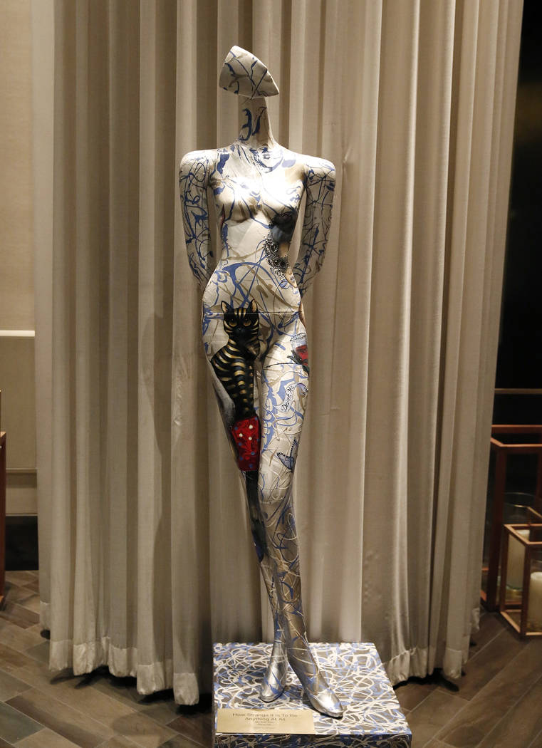 Hand-painted life size mannequin is on display for viewing at Delano hotel-casino, on Wednesday, May 17, 2017. Las Vegas Fashion Council commissioned 10 mannequins to be auctioned off at the third ...