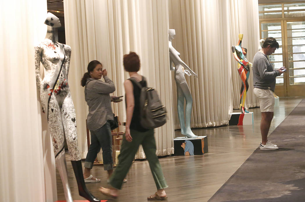 Hand-painted mannequins are on display for viewing at Delano hotel-casino, on Wednesday, May 17, 2017. Las Vegas Fashion Council commissioned 10 mannequins to be auctioned off at the third annual  ...