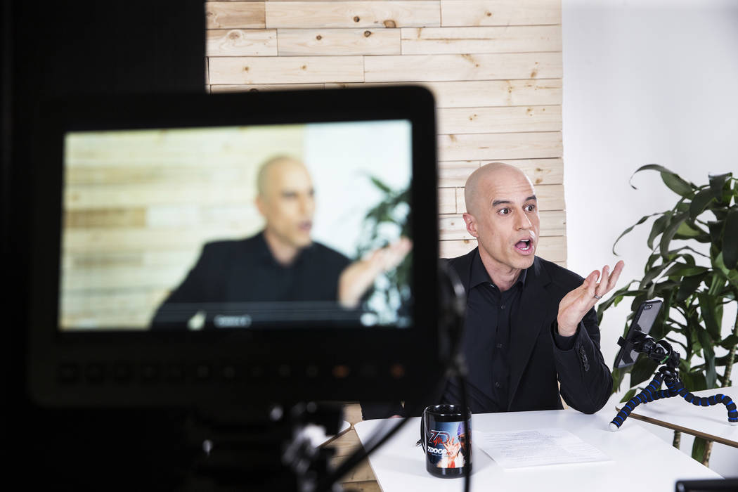 "Dr. Zubin Damania, AKA ""ZDoggMD,"" films an episode of his Facebook Live medical advice show on Sunday, March 19, 2017, at his studio, in Las Vegas. Dr. Damania is a Stanford-trai ..."