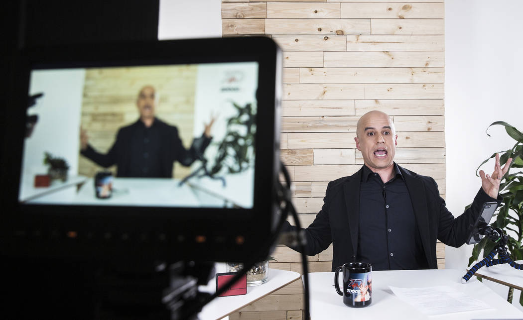 """Dr. Zubin Damania, AKA """"ZDoggMD,"""" films an episode of his Facebook Live medical advice show on Sunday, March 19, 2017, at his studio, in Las Vegas. Dr. Damania is a Stanford-trai ..."""