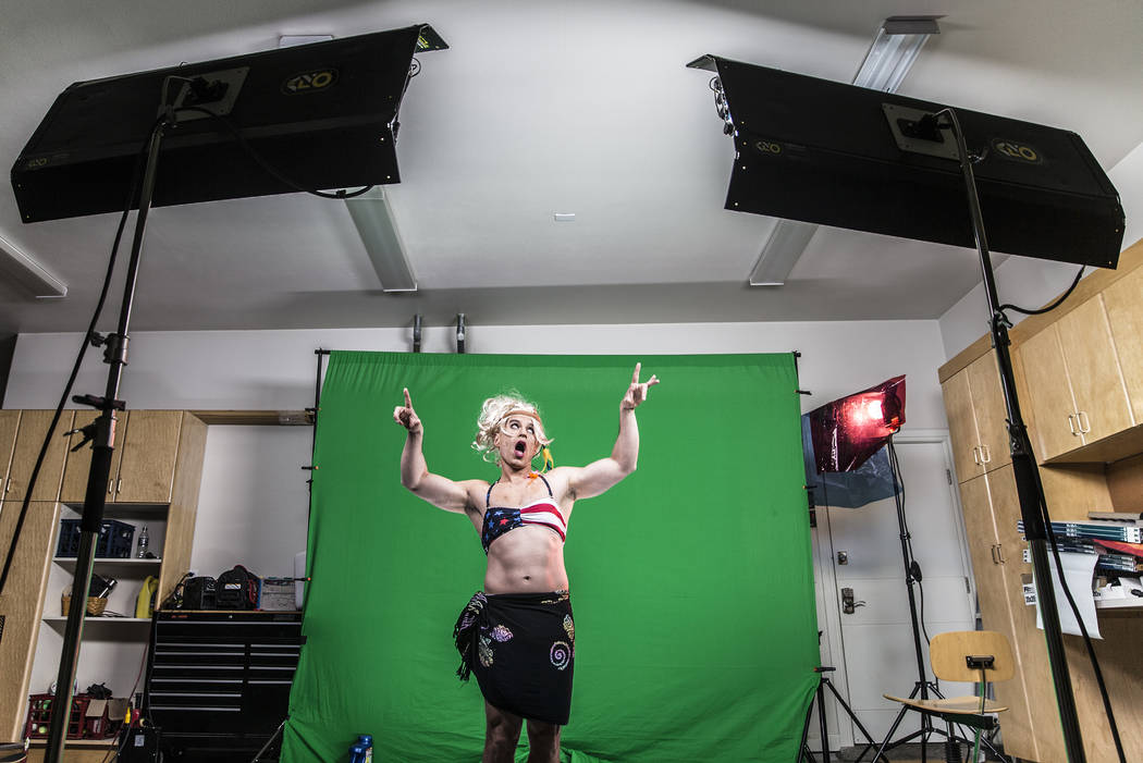 "Dr. Zubin Damania, AKA ""ZDoggMD,"" films a scene from his most recent video parodying Kesha's hit song 'Tik Tok' on Sunday, April 9, 2017, at Damania's studio, in Las Vegas. Benjamin Hager Las Vega ..."