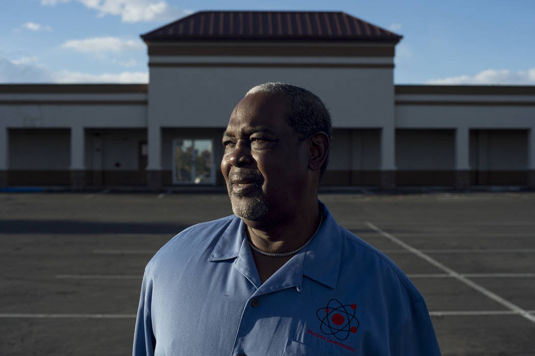 John Edmond is pictured in front of a vacant store front at Nucleus Plaza on Friday, April 28, 2017, in Las Vegas. Edmond owned the plaza when it caught fire during the 1992 riots.  Bennett Las Ve ...