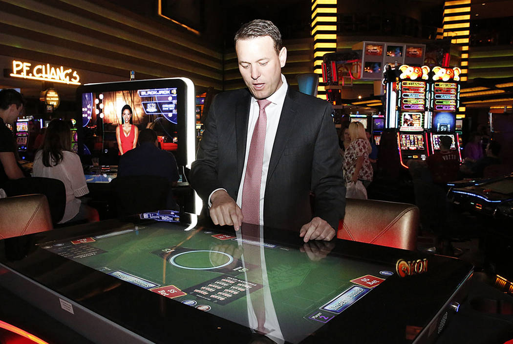 Ryan Hammer, general manager at Caesars Entertainment, talks about the new gambling machine by skills-based company Gamblit at Planet Hollywood hotel-casino on Thursday, April 20, 2017, in Las Veg ...