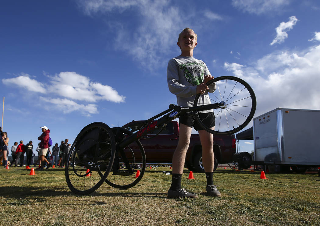 Palo Verde's Ben Slighting, who competes in a wheelchair, gets ready for the 1600-meter run during a track and field meet at Centennial High School in Las Vegas on Friday, April 28, 2017. Chase St ...