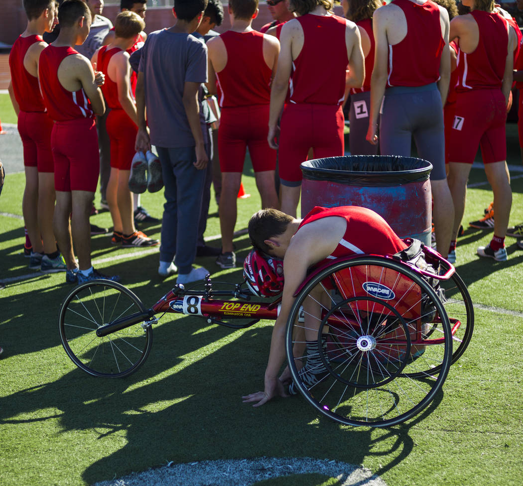 Arbor View freshman Blake Dickinson stretches between events during a track and field meet at Arbor View High School in Las Vegas on Wednesday, April 19, 2017. Chase Stevens Las Vegas Review-Journ ...