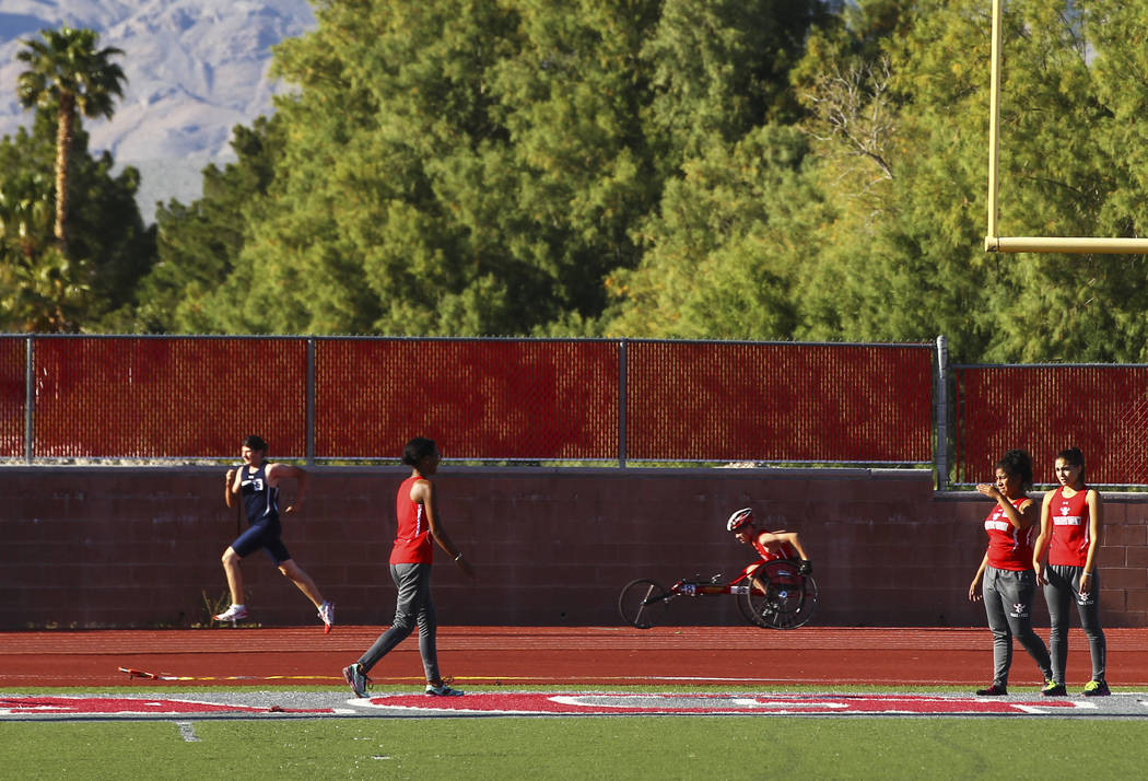 Arbor View freshman Blake Dickinson competes in the 400-meter dash during a track and field meet at Arbor View High School in Las Vegas on Wednesday, April 19, 2017. Chase Stevens Las Vegas Review ...