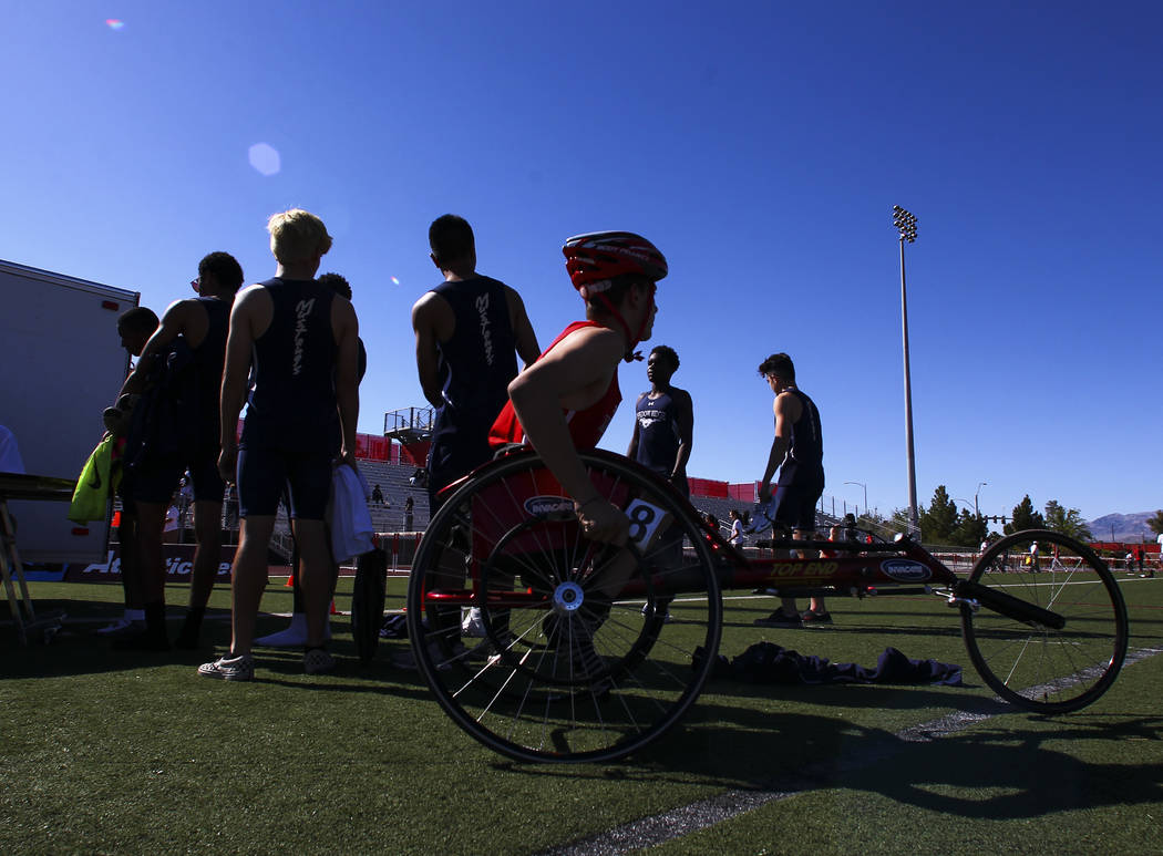 Arbor View freshman Blake Dickinson prepares to compete in the 100-meter dash during a track and field meet at Arbor View High School in Las Vegas on Wednesday, April 19, 2017. Chase Stevens Las V ...