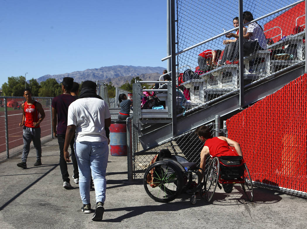 Arbor View freshman Blake Dickinson arrives to a track and field meet at Arbor View High School in Las Vegas on Wednesday, April 19, 2017. Chase Stevens Las Vegas Review-Journal @csstevensphoto