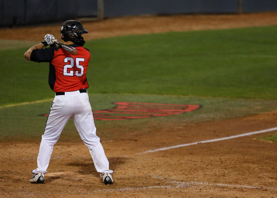 UNLV outfielder Ernie De La Trinidad at the plate in a Feb. 19 baseball game against Omaha at Wilson Stadium. Photo courtesy of UNLV Athletics.