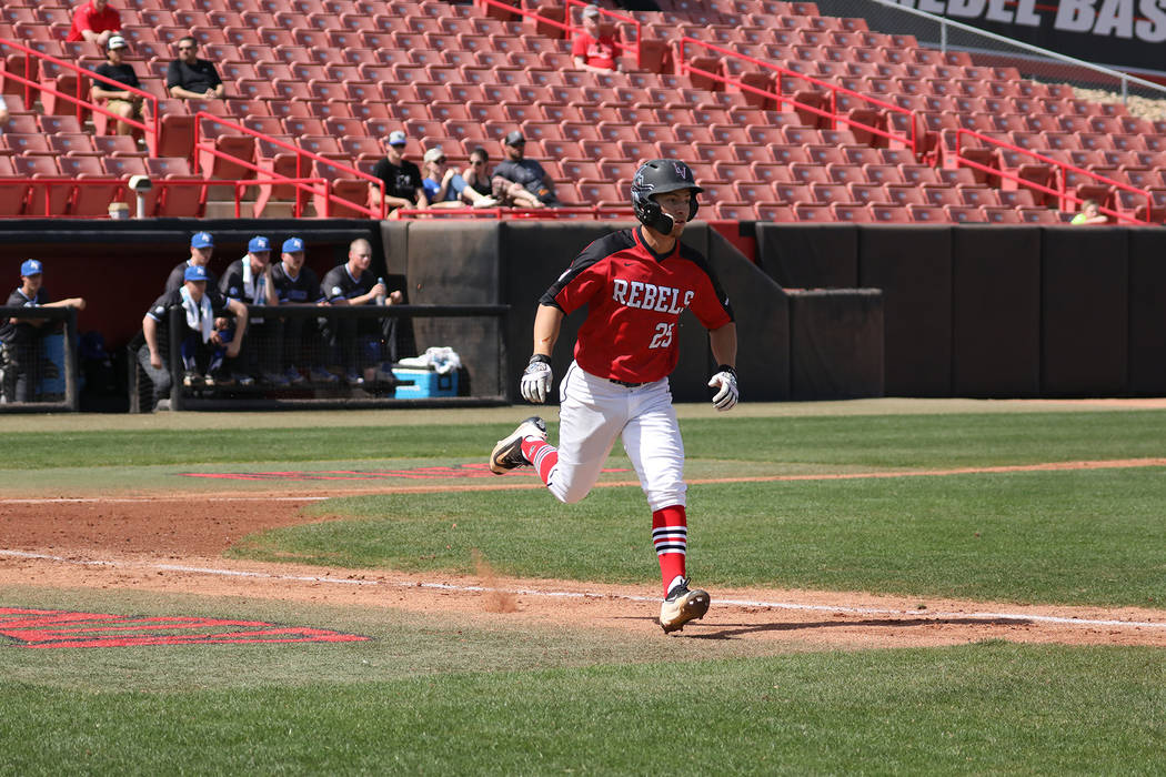 UNLV outfielder in action in a March 11 baseball game against Air Force at Wilson Stadium. Photo courtesy of UNLV Athletics.