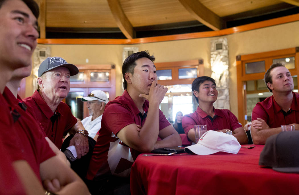 The UNLV golf team waits to hear where they will be selected to play for the NCAA 2017 men's regionals at the Las Vegas Country Club in Las Vegas, Thursday, May 4, 2017. Elizabeth Brumley Las Vega ...
