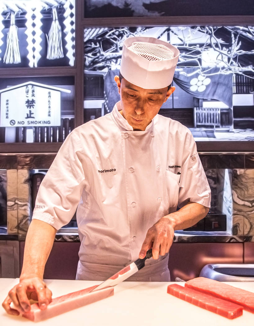 A guilt-free version of endangered bluefin tuna is prepared at Morimoto on Friday, April 21, 2017, at the MGM Grand hotel-casino, in Las Vegas. Benjamin Hager Las Vegas Review-Journal @benjaminhphoto