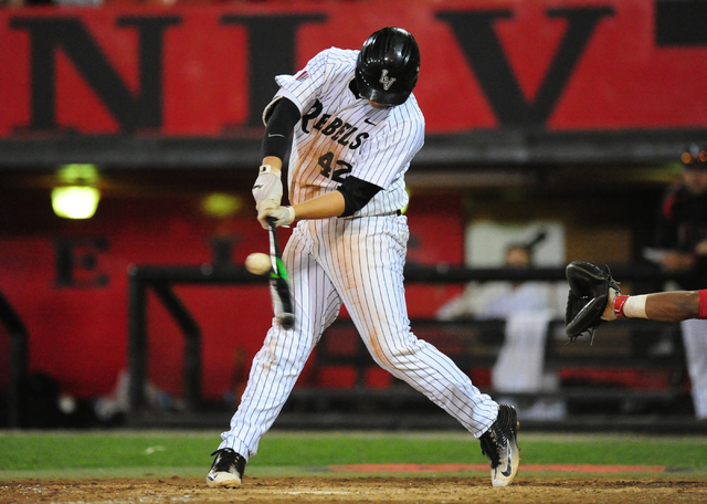 Nick Ames, shown last season, went 3-for-4 with a home run and three RBIs for UNLV on Friday in the Rebels' 12-5 loss to visiting Fresno State. (Josh Holmberg/Las Vegas Review-Journal)