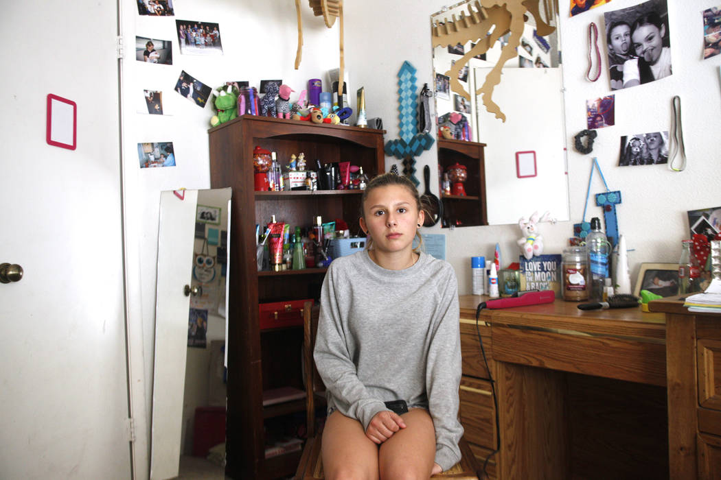 Kendra Jensen, 14, in her room on Monday May 1, 2017, at her home in Henderson. Rachel Aston Las Vegas Review-Journal @rookie__rae