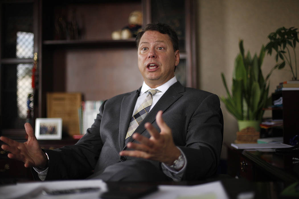Clark County School District Superintendent Pat Skorkowsky speaks to the Review-Journal on Wednesday, May 17, 2017, from his office in Las Vegas. Rachel Aston Las Vegas Review-Journal @rookie__rae