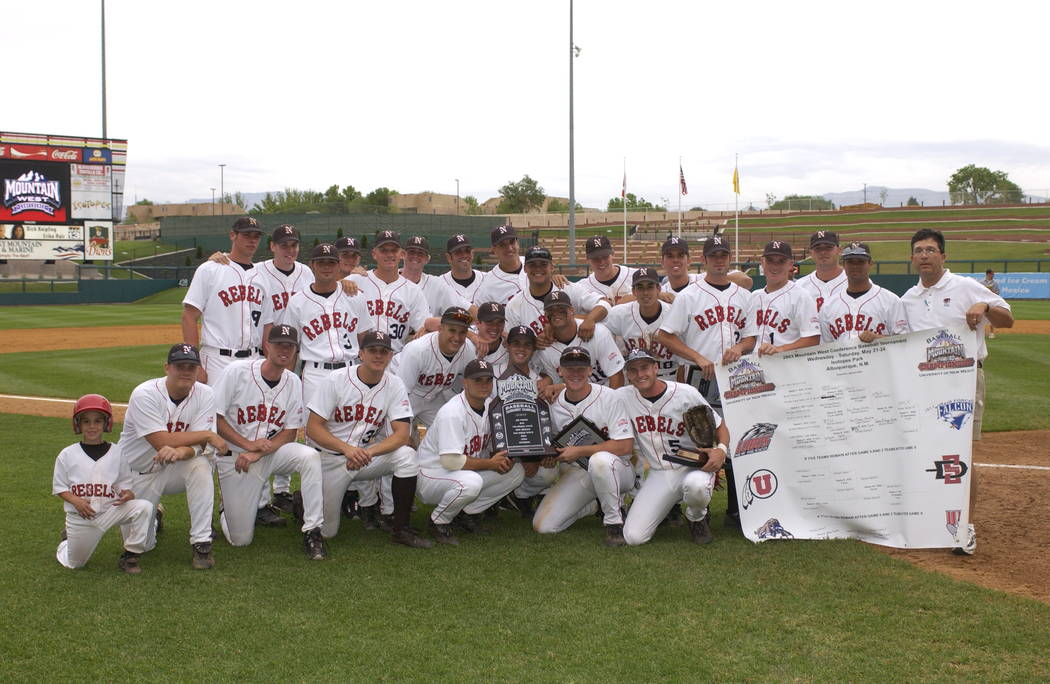 UNLV's 2003 baseball team after winning the Mountain West tournament championship 14-9 over San Diego State. Photo by Jaren Wilkey/MW