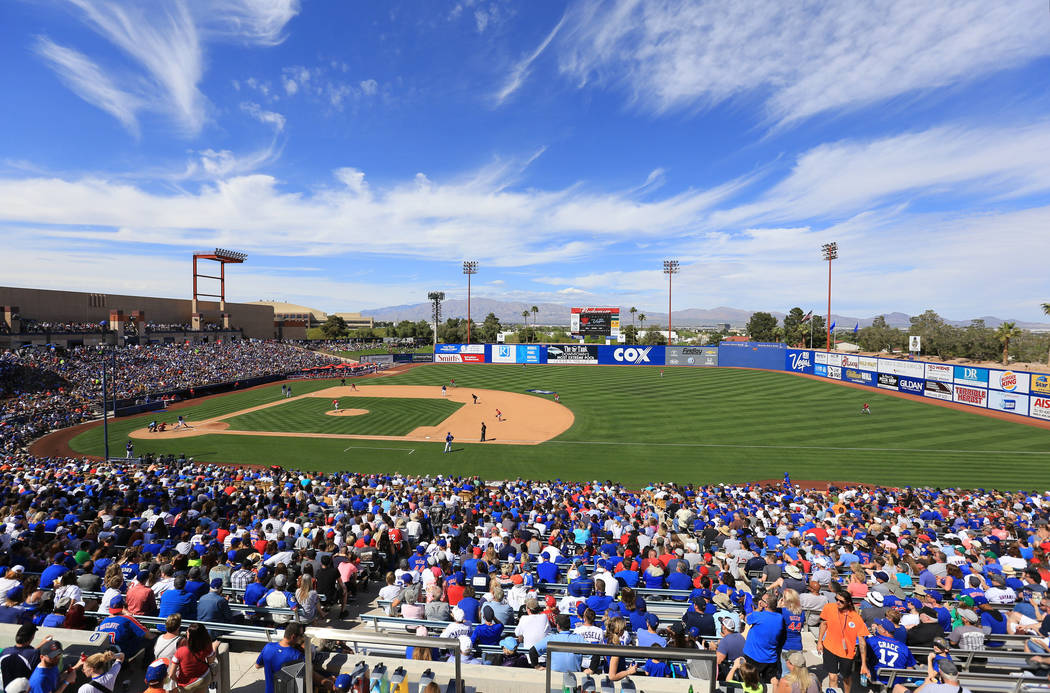Fans watch a game between the Chicago Cubs and the Cincinnati Reds at Cashman Field in Las Vegas on Sunday, March 26, 2017. (Brett Le Blanc/View) @bleblancphoto