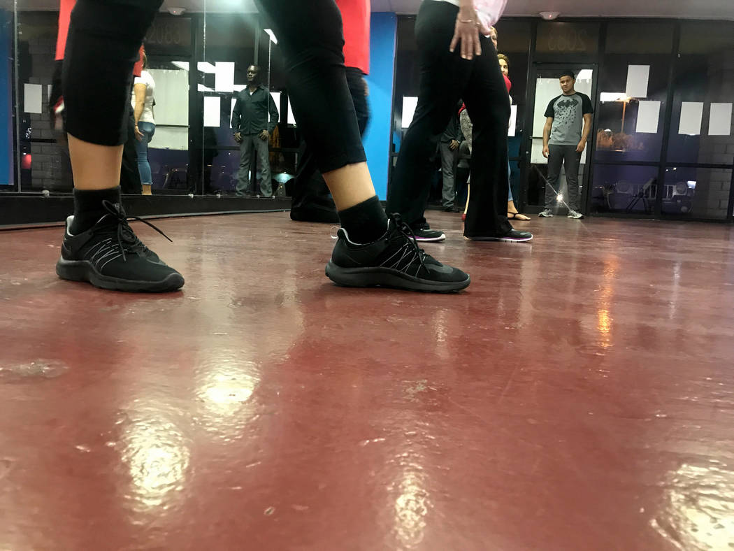 Students take salsa dancing class with instructor Jose Velez April 24, 2017, at Family Fitness Zum, 2083 N. Jones Blvd. Kailyn Brown/View