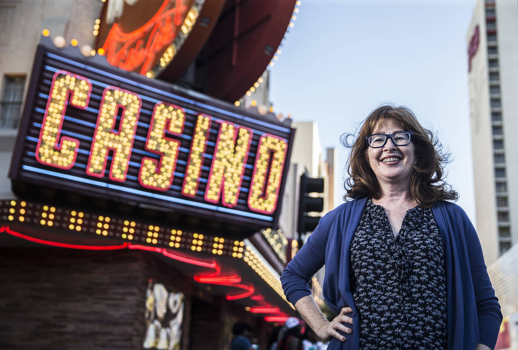 Laura McBride's latest novel follows a group of women whose lives intersect at a seedy Vegas nightclub. Photo taken on Tuesday, April 18, 2017, at the Fremont Street Experience, in Las Vegas. Benj ...