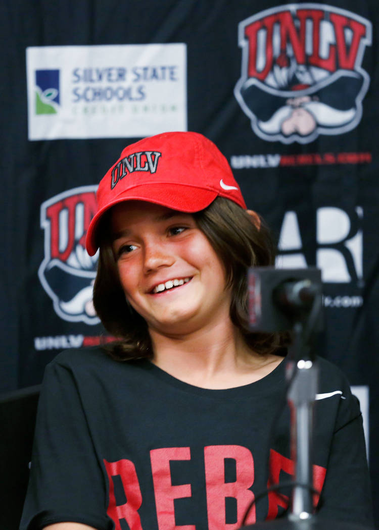 Thaddeus Thatcher, 9, who is battling cancer, smiles during a news conference at UNLV in Las Vegas, Monday, May. 1, 2017. Chitose Suzuki Las Vegas Review-Journal @chitosephoto