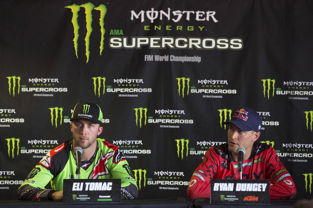Supercross racers Eli Tomac, left, and Ryan Dungey, right, speak during a press conference at Sam Boyd Stadium, where the Super on Friday, May 5, 2017, in Las Vegas. Bridget Bennett Las Vegas Revi ...