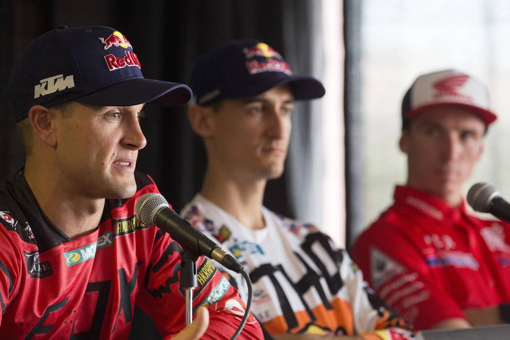 Supercross racer Ryan Dungey, left, speaks during a press conference at Sam Boyd Stadium on Friday, May 5, 2017, in Las Vegas. Bridget Bennett Las Vegas Review-Journal @bridgetkbennett