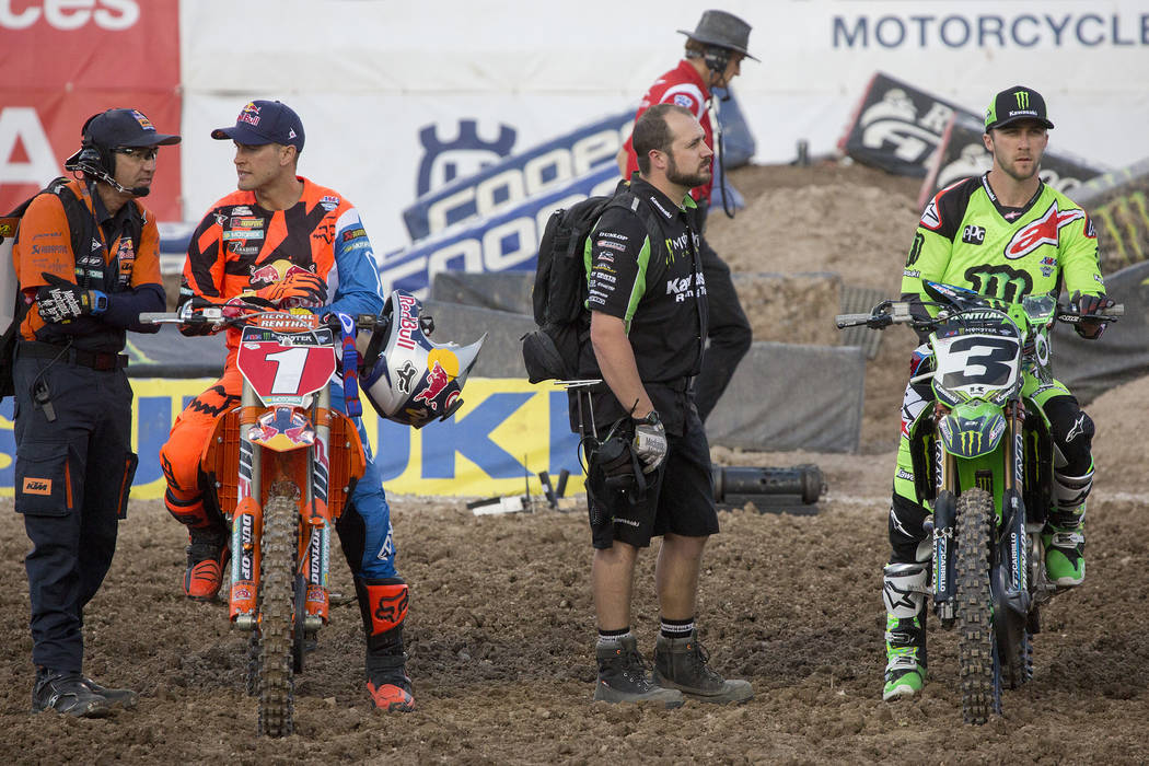 Supercross racers Ryan Dungey (1), left, and Racer Eli Tomac (3), right, are introduced on the course prior to the Monster Energy AMA Supercross race at Sam Boyd Stadium on Saturday, May 6, 2017,  ...