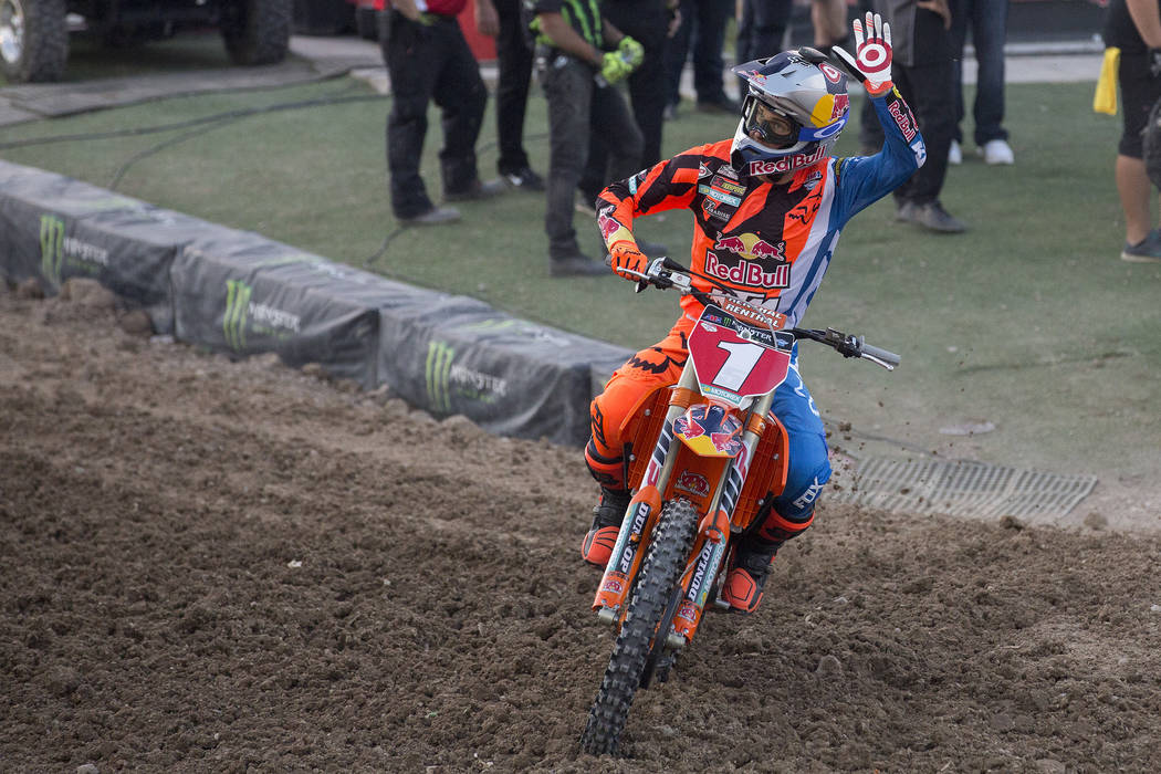 Supercross racer Ryan Dungey (1) in introduced on the course prior to the Monster Energy AMA Supercross race at Sam Boyd Stadium on Saturday, May 6, 2017, in Las Vegas. Bridget Bennett Las Vegas R ...